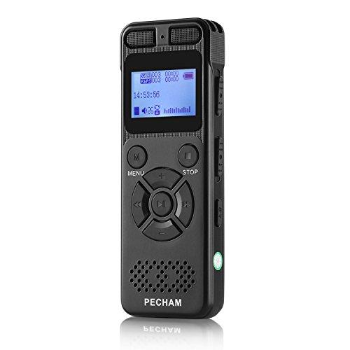 ボイスレコーダー PECHAM ICレコーダー ポータブル 録音機 高音質 内蔵スピーカー 8GB MicroSD対応 日本語説明書付き 1年保証