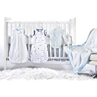 SwaddleDesigns 6 Piece zzZipMe Sack Crib Bedding Set with Crib Skirt with Luxury Adult Blanket, Pastel Blue, 3-6months [並行輸入品]