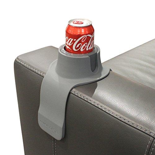 COUCHCOASTER (カウチコースター) 椅子 ソファー でこぼれないカップホルダー - ドリンク、グラス、カップ アームレスト テーブル (グレー)