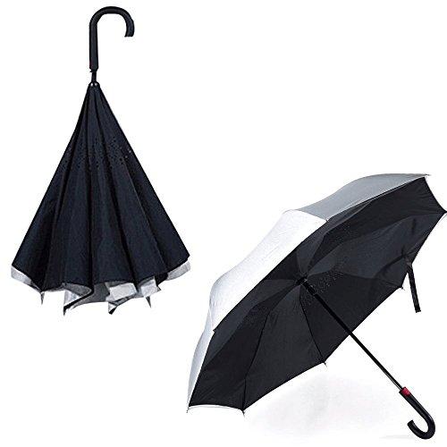REMAX ワンタッチオープン逆折り式傘 ! 傘 雨 逆さ傘 撥水 親骨 グラスファイバー RT-U1 (シルバー/ブラック)