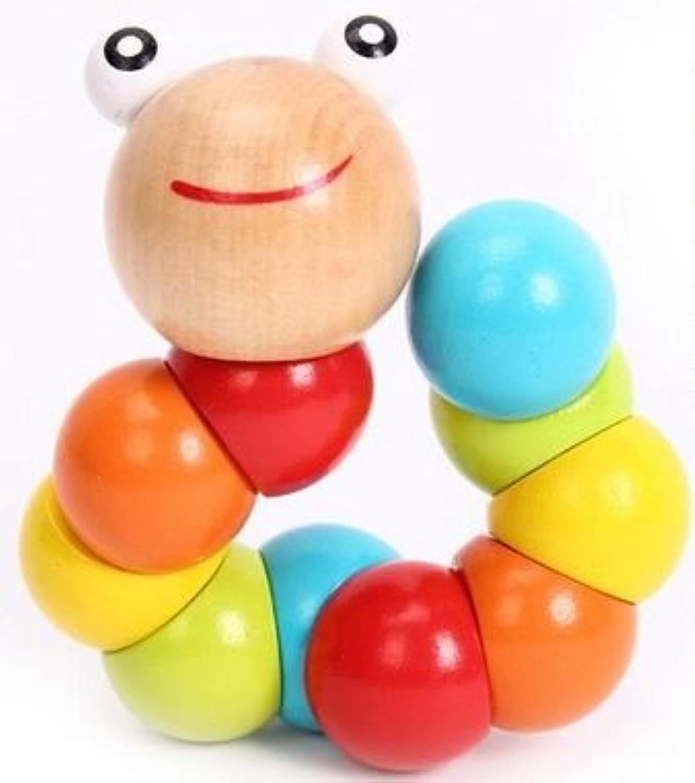 くねくね いもむしくん 木製 知育 玩具 木のおもちゃ 自由に 曲がる 伸びる カラフル かわいい トイ プレゼント 誕生日 お祝い ギフト 出産 指先 発育