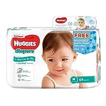 Huggies Platinum Diapers Medium 64ct + Pure Clean Wipes, 64 count