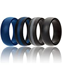ROQ Silicone Wedding Ring for Men, 7 Pack, 4 Pack & Singles, Silicone Rubber Bands - Classic Style Solid & Striped, Metalic Look & Matte Colors