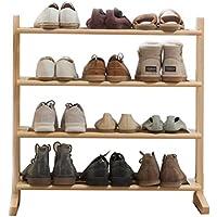 シューズラック多層単純な家庭4階建ての靴のキャビネット木製ストレージラック組み立てられたラック シューズホルダー (Color : Wood color, Size : 70x24x72cm)