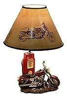 Ebros ビンテージ オールドファッション レトロ レッド オートバイ クラッシック ガスポンプ デスクトップ テーブルランプ 高さ19インチ ノスタルジック ハイウェイ ルート66 ロードランナー ホームデコ シェルフ マントルピース 照明 アクセント