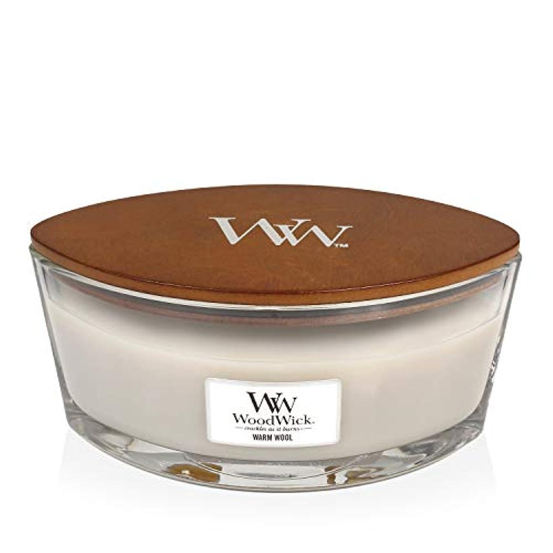 周辺ガラス反対したWoodWick WARM WOOL HearthWick 炎で香るキャンドル