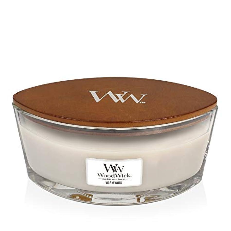眠る引き付ける確認WoodWick WARM WOOL HearthWick 炎で香るキャンドル