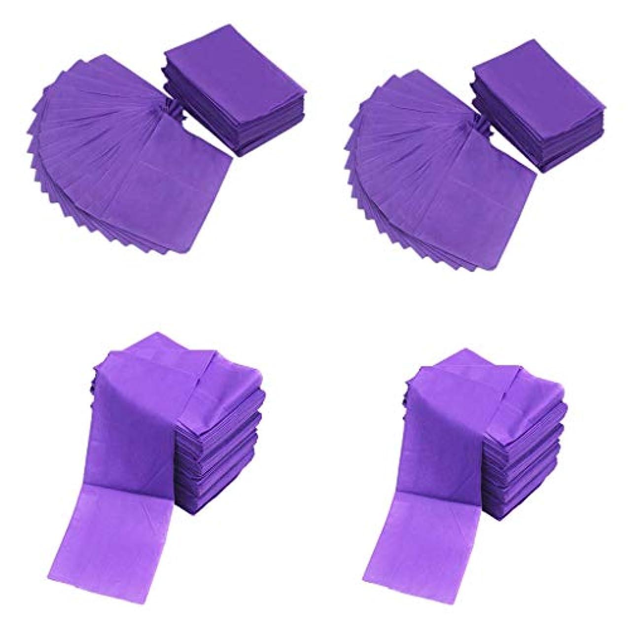代替ジュニア教室sharprepublic マッサージフェイシャルビューティー、ボディワックス、スパ、マッサージ、不織布ベッドパッドマット用の使い捨てシーツ40枚-75x175 Cm-紫