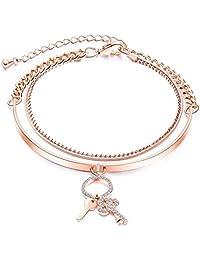 Bystar Women Copper Bracelet Fashion Elegant Keys Two Layers Rose Gold Plated Bracelet
