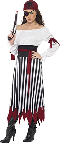 Smiffys Women's White/Black Pirate Lady Costume - Us Dress 14-14