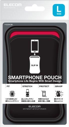 ELECOM スマートフォン用ポーチ スリップインタイプ 5インチ対応 ブラック P-02SNCBK