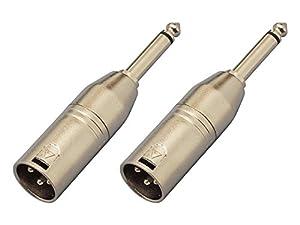 【2個セット】KC 変換コネクター CA308 XLR(M)/Phone(M) マイク・ケーブルからモノラル標準プラグへ変換