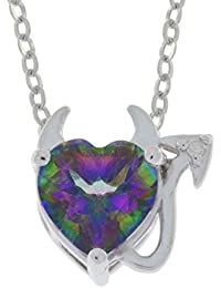 1.5 Ct Genuine Mystic Topaz & Diamond Devil Heart Pendant .925 Sterling Silver