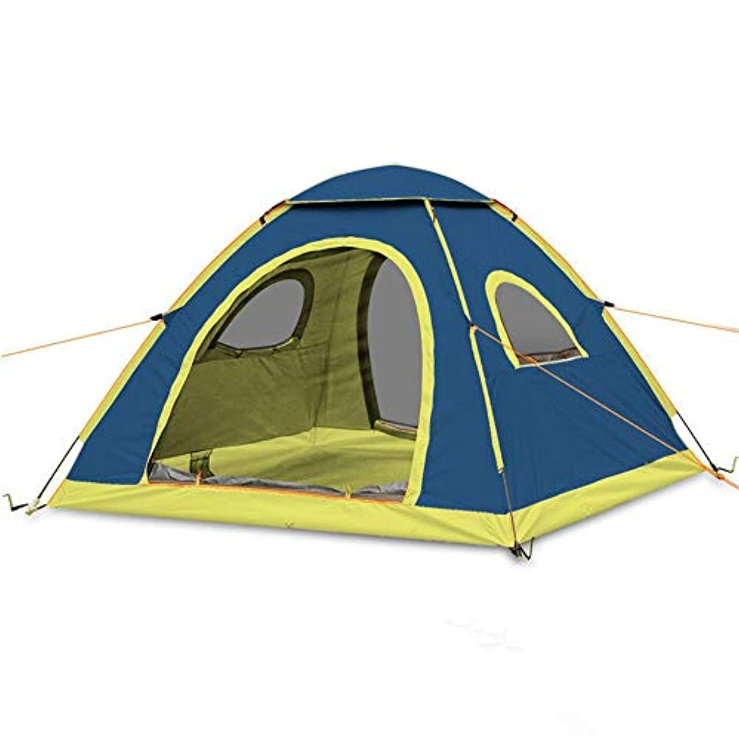 夜明けに勢い理由家族のスポーツ登山ハイキング旅行キャンプアウトドア油圧フィット3-4人3シーズン軽量防水テント (色 : 青)