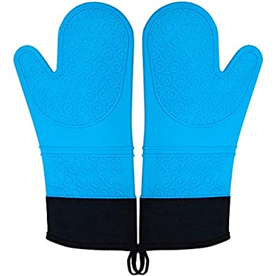 Silicone Oven Gloves Heat Resistant Non-Slip Kitchen Mitts Waterproof Barbecue Potholder with Canvas Cuffs&Cotton Lining for Camp Cooking Grilling Baking,1 Pair