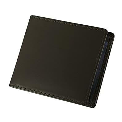 (ミラグロ) Milagro バッファローカーフ box型小銭入れ 薄型 二つ折り財布 フラットなbox型 本革 (ブラック) EA-MI-006