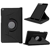DETUOSIケースHuawei MediaPad T3 8ケースレザーケース360度回転スマートカバー保護ケース(タブレット用)スタンドファーウェイT3 8インチブラック