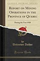 Report on Mining Operations in the Province of Quebec: During the Year 1920 (Classic Reprint)