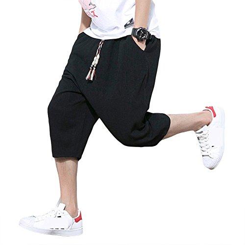 CEEN サルエルパンツ メンズ ズボン 袴パンツ ワイドパンツ サルエル ファッション 麻 七分丈 短パン ショートパンツ カジュアル 夏 無地 調整紐 ゆったり 通気性 大きいサイズ