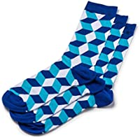 ToeTrends Men's designer bamboo socks - 1 pair - Sexy, Bold, Comfortable & Naturally anti-bacterial (Blue + Navy Blue & White)