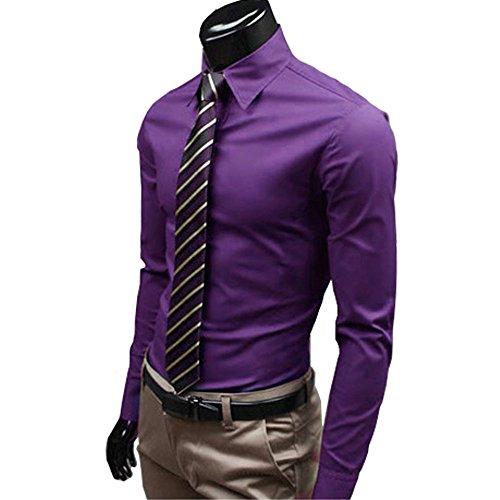 (オチェーンタ)OCHENTA メンズ 長袖 ビジネス スリム ノーアイロン カーディガン 春 秋 かっこいい ファッション 無地 シャツ ワイシャツ パープル M