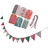 SONONIA 24枚 紙製 ハングタグ ラベル ギフトカード スコットランド バナー クリスマス パーティー 飾り