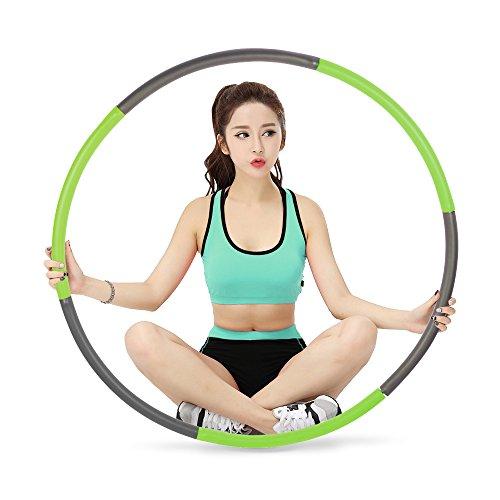 SECHEER フラフープ 大人用 有酸素運動ダイエット エクササイズ お腹くびれ シェイプアップ 組み立て 取り外し 簡単 収納便利 直径96cm 6本組