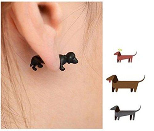 【Anmyuz96】 犬 ピアス ユニーク 可愛い 個性的 ダックスフンド型 犬 デザイン 立体 ピアス ファッション アクセサリー プレゼント レディース メンズ 片耳用 犬 黒