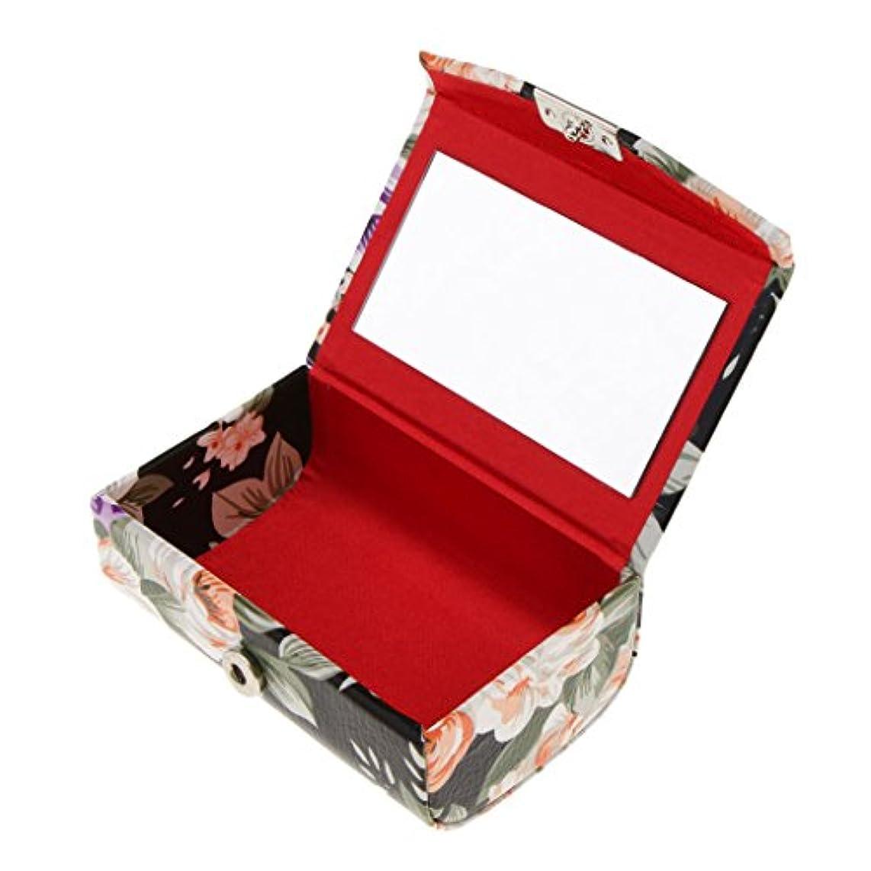 おしゃれな超えて無しFenteer 口紅ケース リップスティックケース ミラー付き 香水 オイル 携帯用 旅行用 2タイプ  - ブラック