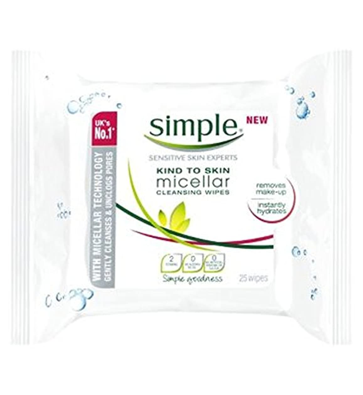おしゃれなラウンジ召喚するSimple Kind To Skin Micellar Cleansing Wipes - 25 wipes - 皮膚ミセルクレンジングへの単純な種類がワイプ - 25ワイプ (Simple) [並行輸入品]