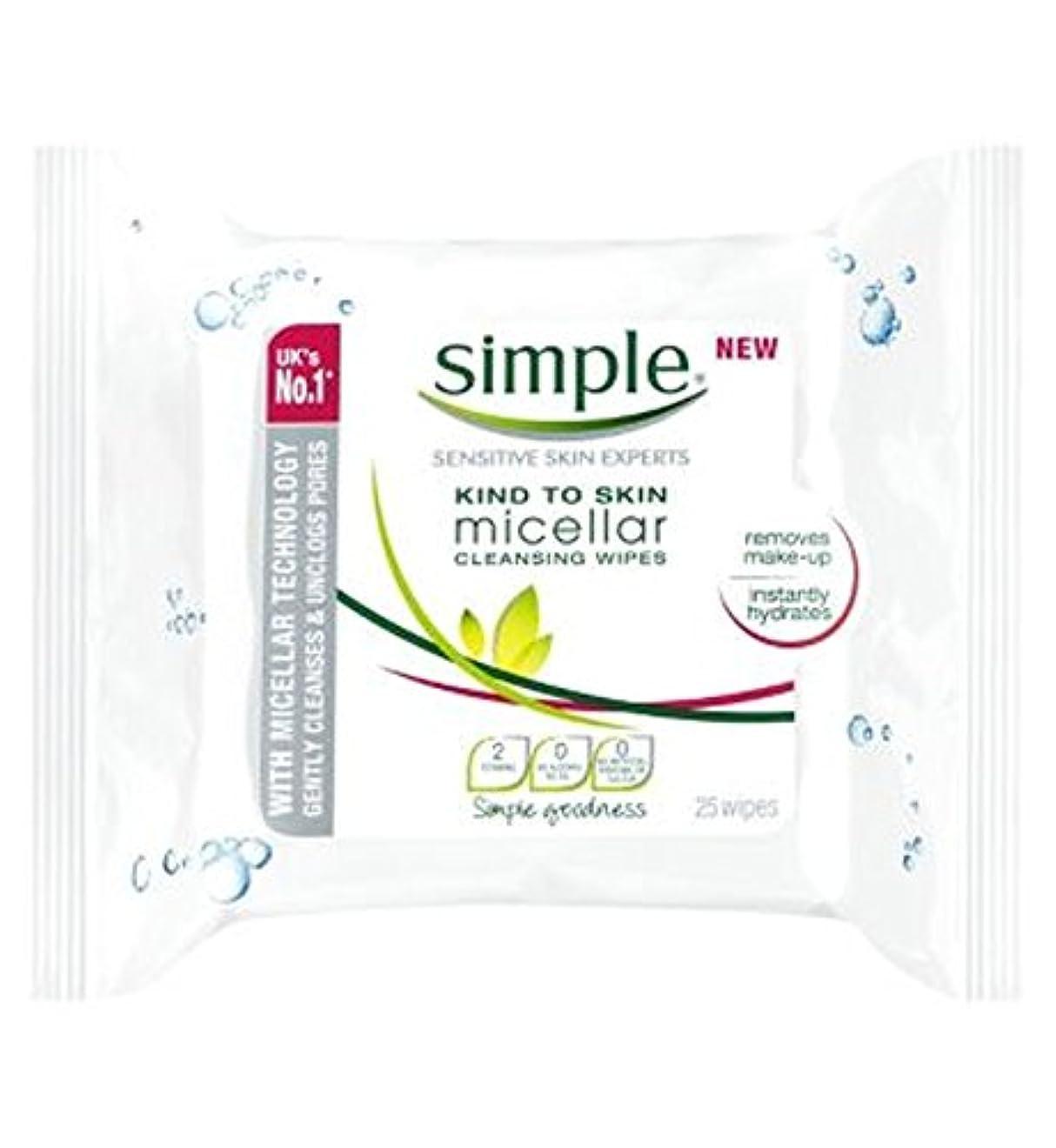 皮膚ミセルクレンジングへの単純な種類がワイプ - 25ワイプ (Simple) (x2) - Simple Kind To Skin Micellar Cleansing Wipes - 25 wipes (Pack of...