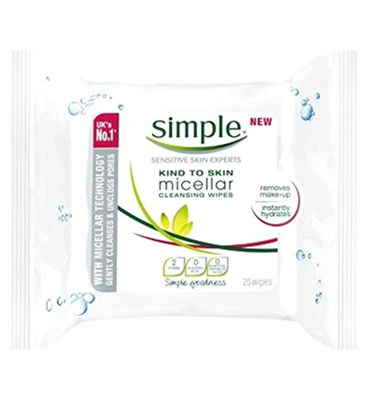 眠る変成器パフ皮膚ミセルクレンジングへの単純な種類がワイプ - 25ワイプ (Simple) (x2) - Simple Kind To Skin Micellar Cleansing Wipes - 25 wipes (Pack of...