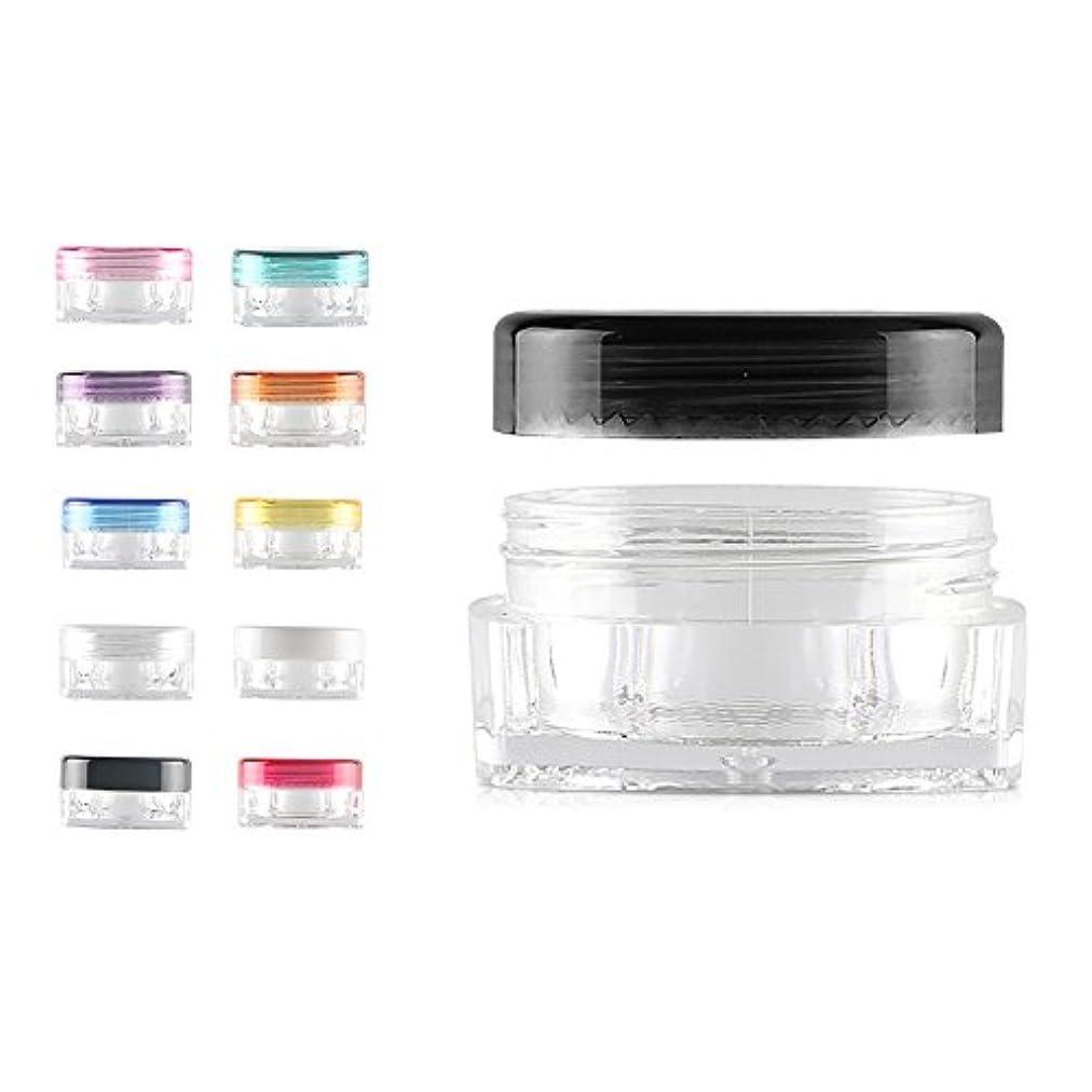 ガジュマル下に楽な12 PCS熱望薄型デザインミニリップクリームサンプルコンテナ クリーム ネイルアート製品(3g 5g) BPAフリー用トラベル化粧品の瓶 - ブラック - 3g