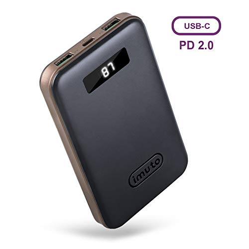 USB-C Power Delivery対応 モバイルバッテリー10000mAh QC 3.0/2.0 USB急速充電 残量表示 パソコン 充電 バッテリー 3台同時充電 iPhone XR XS Max X 8 Plus, Samsung S9 S8, Nintendo Switch,MacBook,ノートパソコン等対応