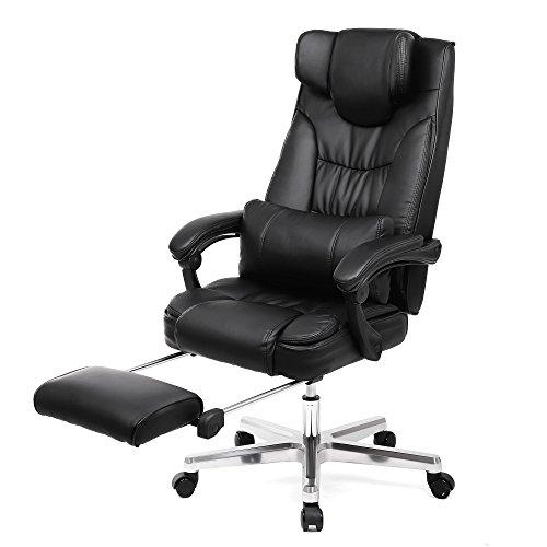 SONGMICS オフィスチェア パソコンチェア 社長椅子 リクライニング ハイバック オットマン付き ネックピロ...