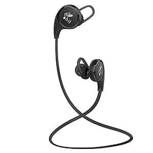 〔白 黒2色〕SoundPEATS(サウンドピーツ) QY8 Bluetooth イヤホン 高音質 小型軽量 apt-X対応 マイク付き ハンズフリー通話 ブルートゥース イヤホン ワイヤレス ヘッドホン ブラック