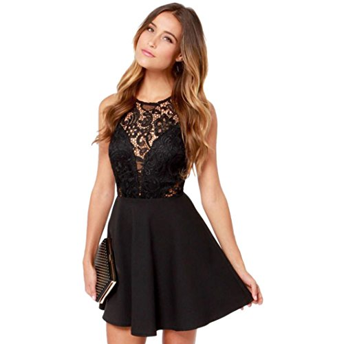 Tian-G Lady Lace Stitching Sexy Back Dress Women Summer Casual Backless Prom Cocktail Lace Short Mini Dress (S, Black)