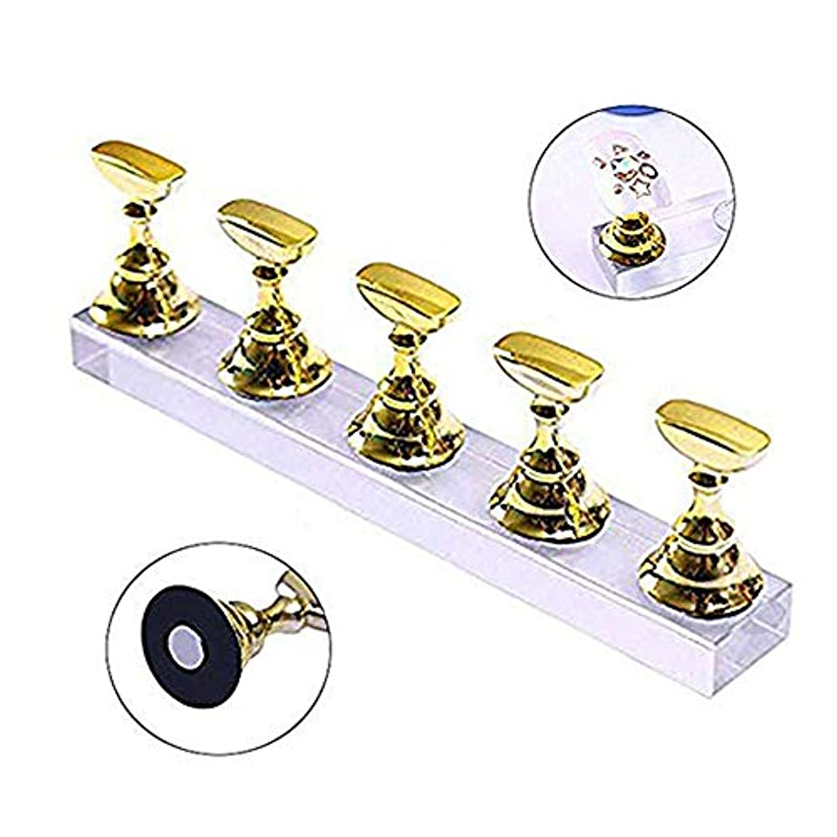 洞察力のあるコメント正直ネイルチップディスプレイ スタンドセット ネイルチップスタンド ネイル練習ハンドネイルエクササイズペデスタル ネイル用品 磁気 ネイルアート道具 サンプルチップ ネイルアート用品 5本セット (ゴールド)