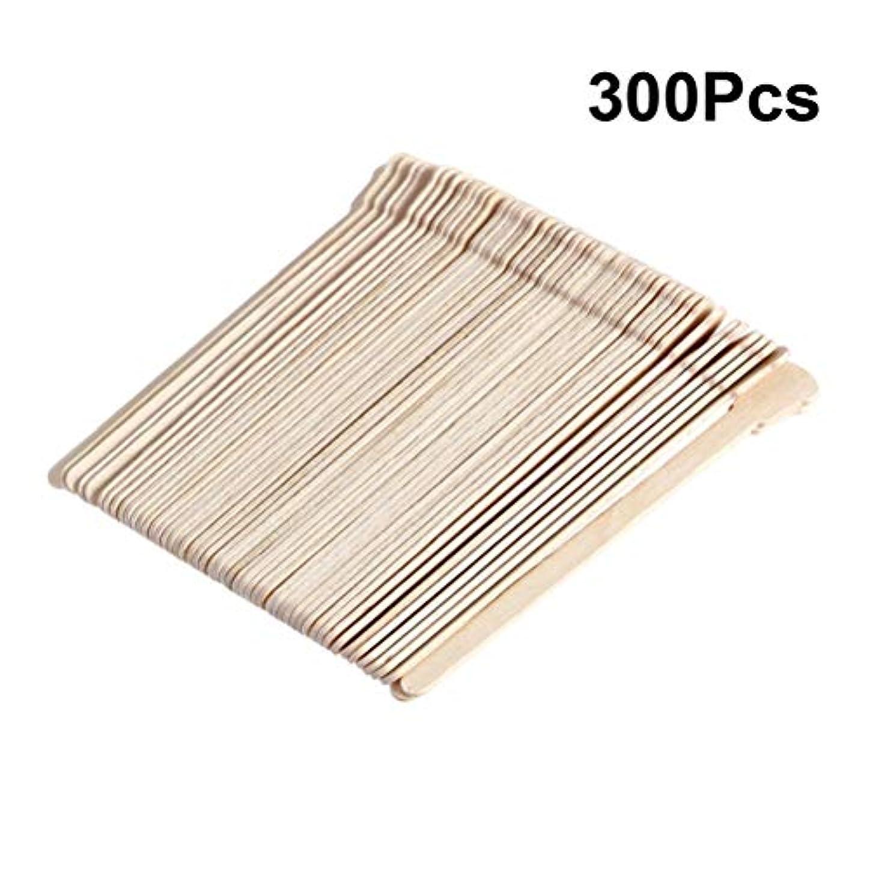 娯楽寛解勝つSUPVOX 300ピース木製ワックススティックフェイス眉毛ワックスへら脱毛(オリジナル木製色)