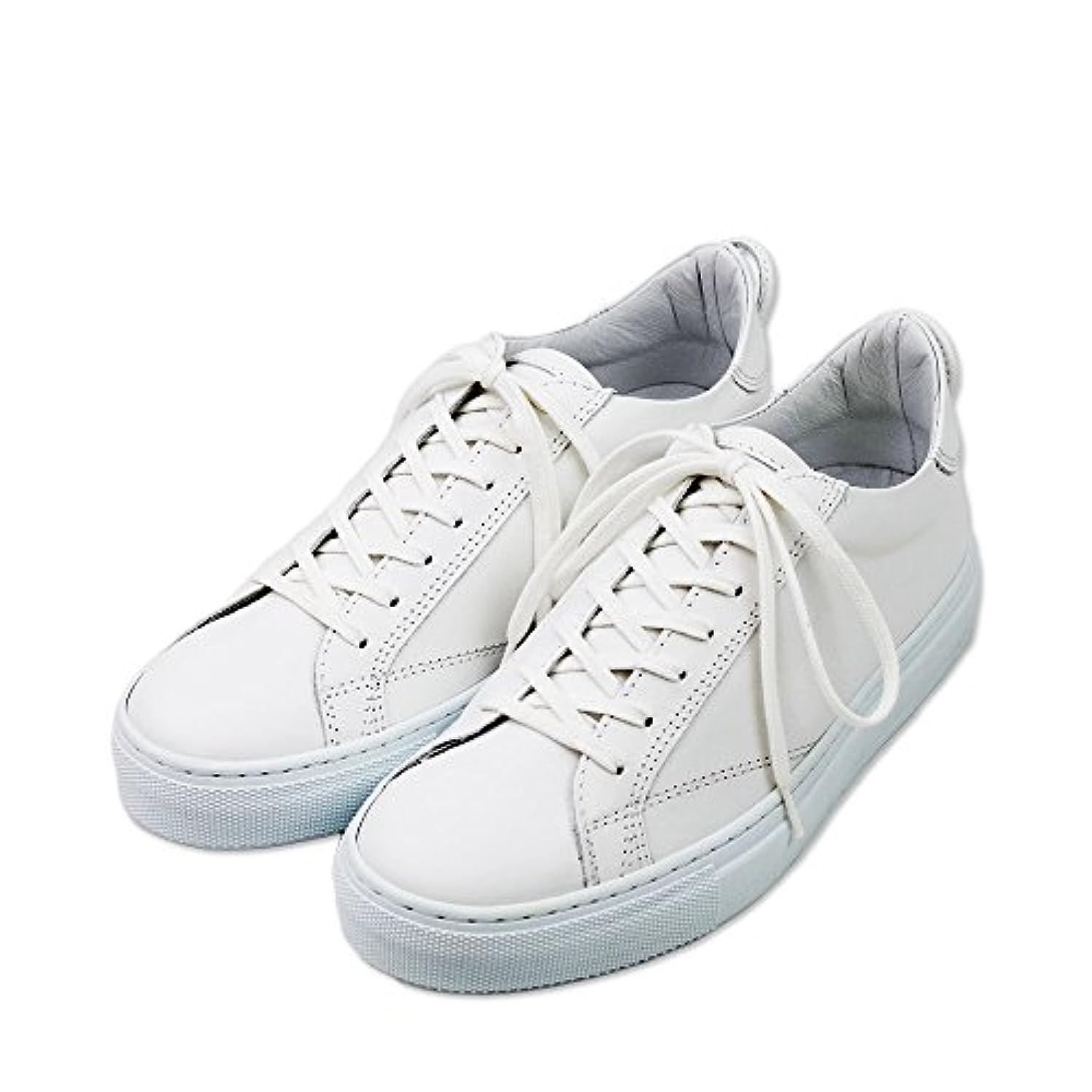 制限するビクター形【AMB エーエムビー】レザー ローカットスニーカー(9838L archy) ホワイト メンズ革靴