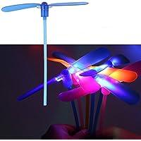 ireav 10pcs LEDフラッシュプラスチック竹ラフトプロペラ子供の屋外のおもちゃFlyingライトおもちゃギフト