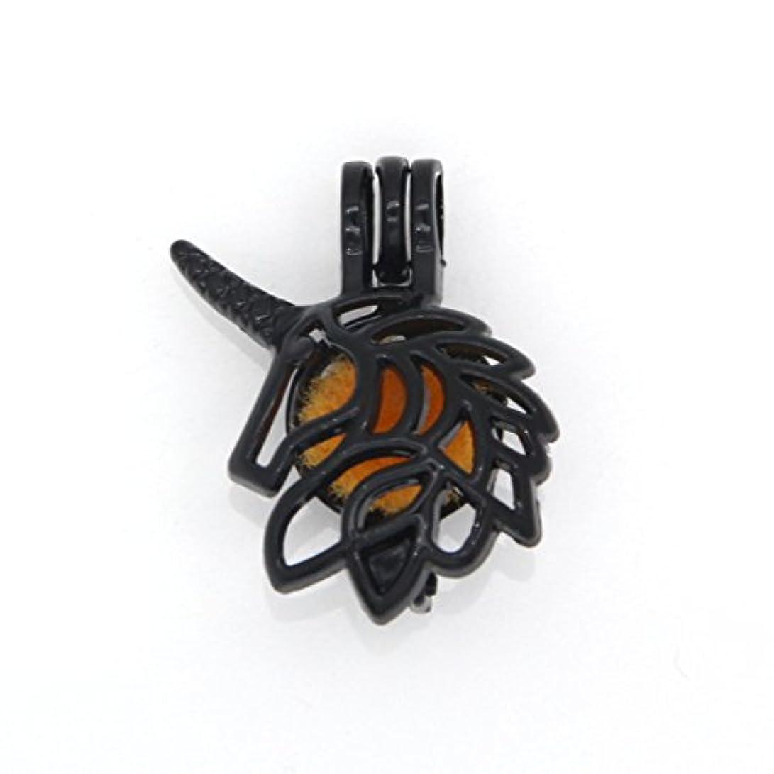 絡まる通貨費やすReyOW 10pcsブラックガンユニコーンパールケージロケット追加Perfume and Essential Oils Diffuserビーズペンダントチャーム