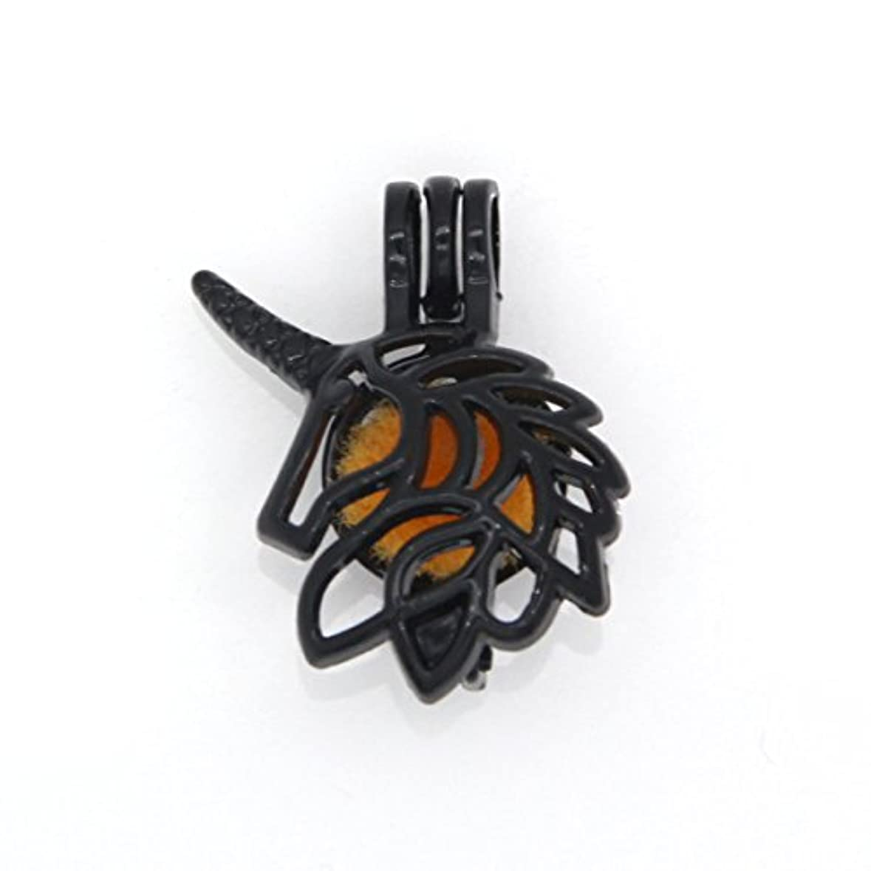 現れる本質的に裏切り者ReyOW 10pcsブラックガンユニコーンパールケージロケット追加Perfume and Essential Oils Diffuserビーズペンダントチャーム