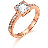 Italina Women's Thin Band Square Cubic Zirconia Fashion Ring Rhodium/Gold/Rose Gold Plated