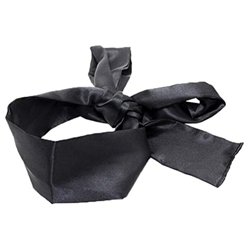 結晶矩形学んだHEALIFTY 睡眠マスクホームトラベルコスチューム小道具(ブラック)用サテン目隠しソフト快適なアイマスクバンドブラインダー
