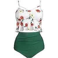 BARTONYSHOP Women's High Waist Two Pieces Ruffle Bikini Set Plus Size Printed Swimwear Bathing Suit