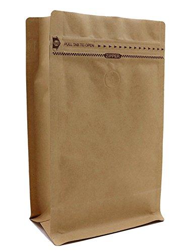 コーヒー紙袋 ジップ袋 自立袋 角底袋 クラフト紙袋 内面 アルミ ヒートシーラー対応必須 チャック付き バ...