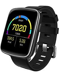 スマートウォッチ、 Yamay 1.54インチHD画面スマートブレスレット 心拍計 活動量計 多機能腕時計 BT通話機能搭載(SIMカードなし) SMS通知 歩数計 消費カロリー ストップウォッチ 睡眠検測 座りっぱなし警告 遠隔音楽 IP68防水 水泳可能 日本語説明書 iphone&Android対応