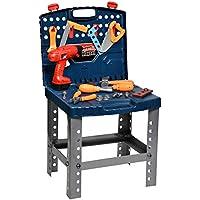 Playkidz 組み立て作業台 子供用 ポータブル 男の子 女の子用 おもちゃプレイセット 電動ドリル 旅行キャリーケース 45+ ツール&アクセサリー付き 3歳以上