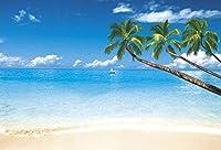 GooEoo 熱帯海景夏休み背景10×7フィートビニール写真背景海辺風景風景植物木青い海空白い雲ヨット子供大人夏休み